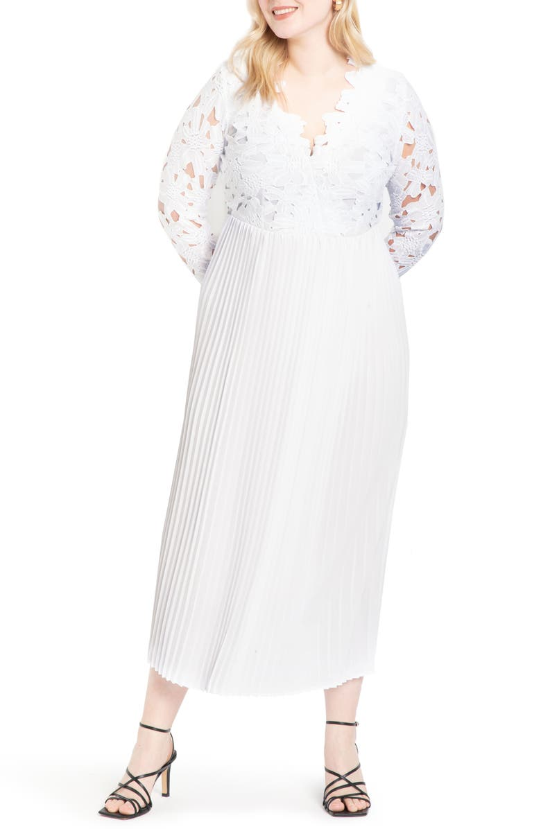 ELOQUII Lace Bodice Chiffon Gown, Main, color, 100