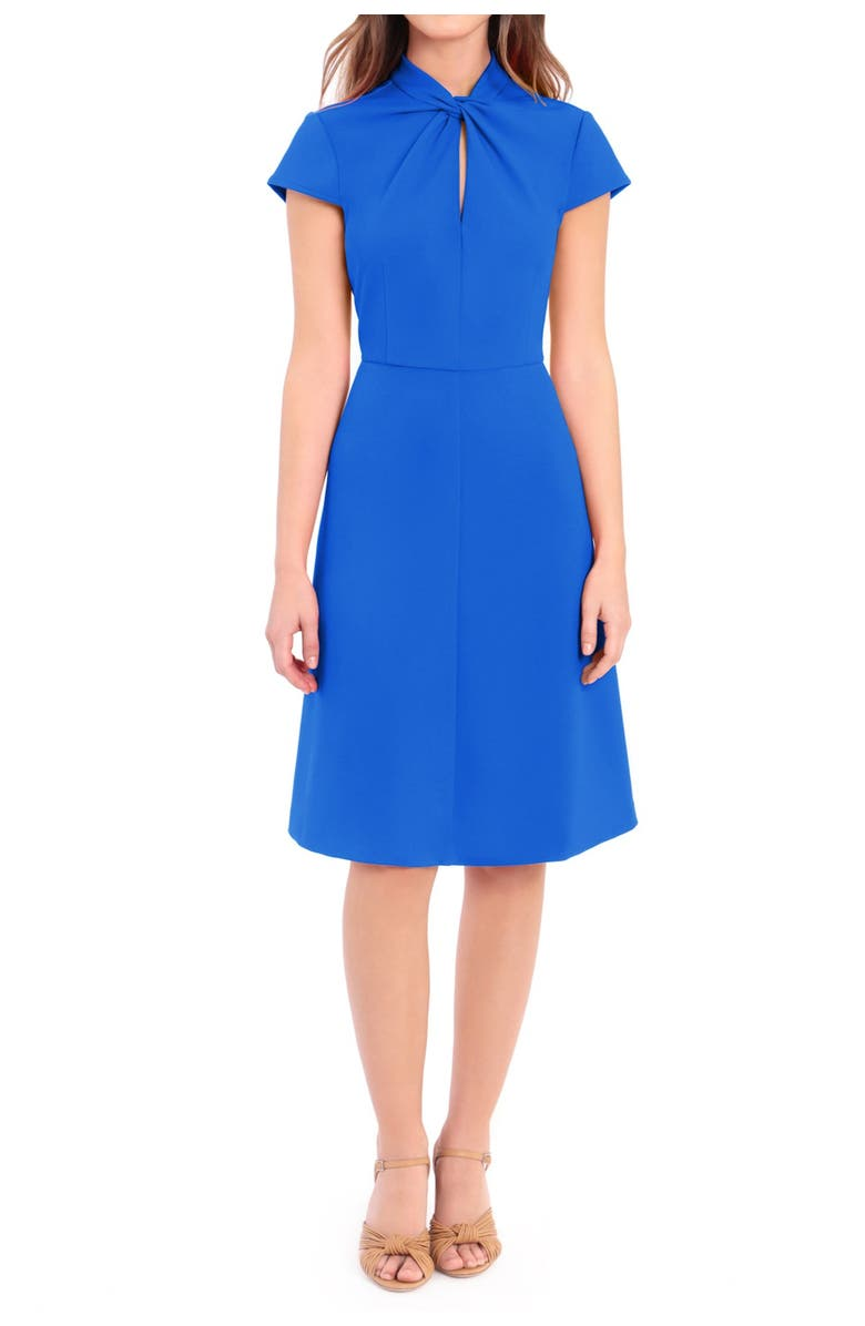 DONNA MORGAN Twist Knot Fit & Flare Dress, Main, color, BLUE ASTER