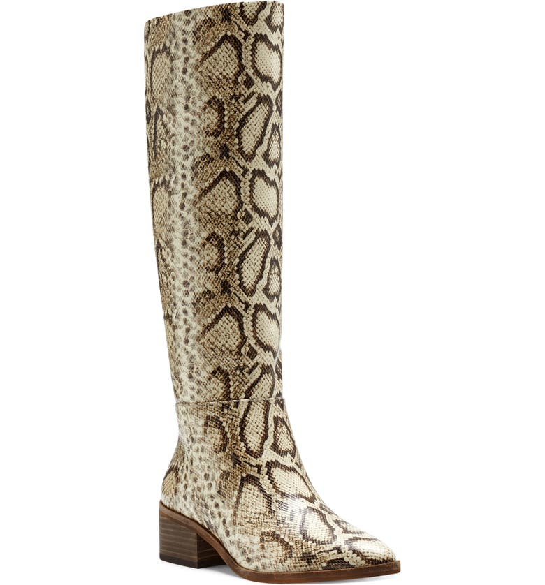 VINCE CAMUTO Beaanna Knee High Boot, Main, color, NATURAL SNAKE PRINT LEATHER