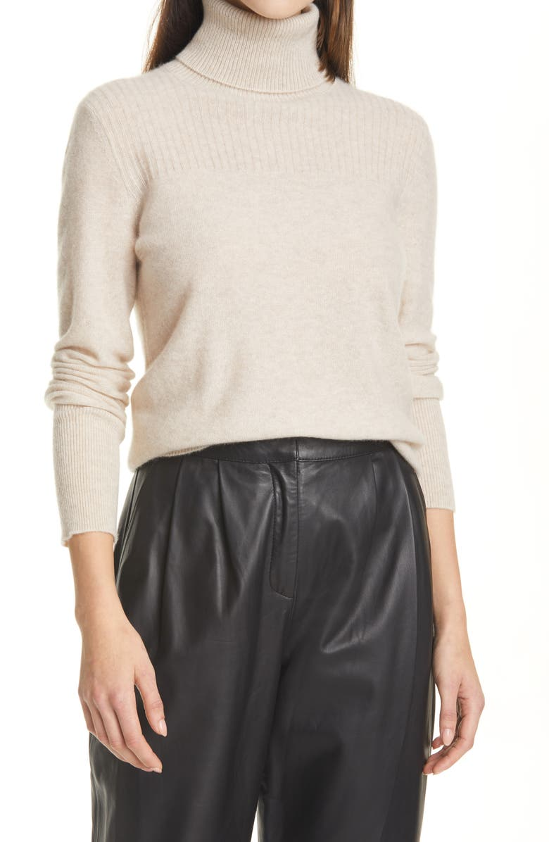 VERONICA BEARD Kressy Cashmere Turtleneck Sweater, Main, color, OATMEAL