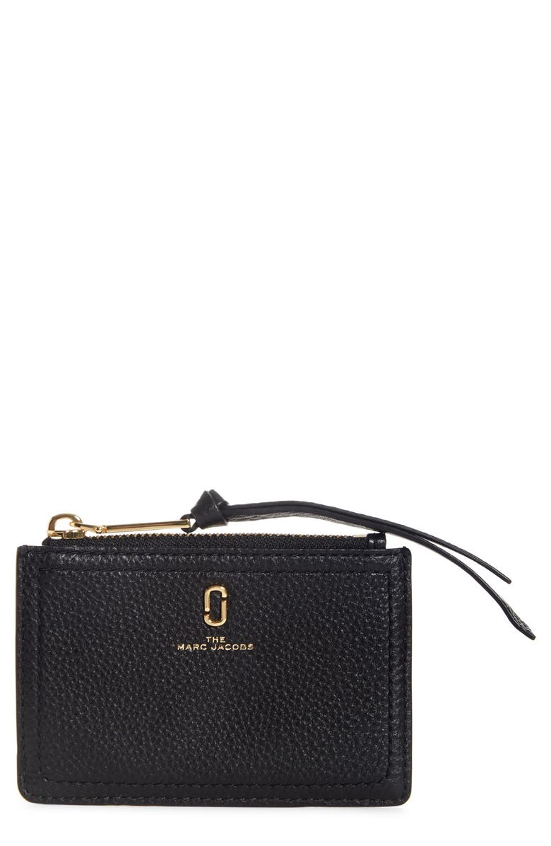 THE MARC JACOBS Snapshot Leather Zip Wallet, Main, color, 001
