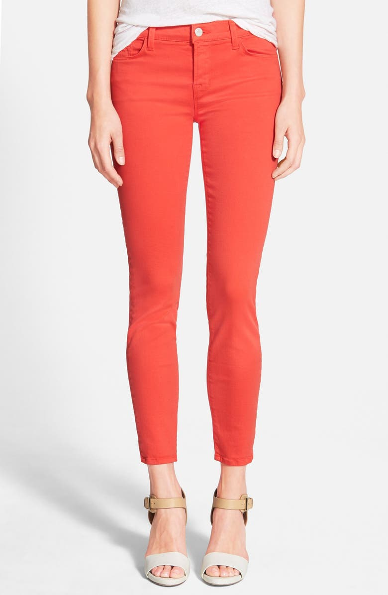 J BRAND Low Rise Ankle Skinny Jeans, Main, color, DARK CORAL
