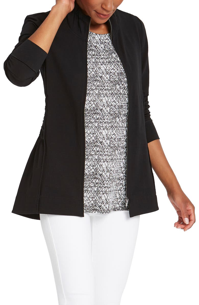 NIC+ZOE The Perfect Zip Front Knit Jacket, Main, color, BLACK ONYX