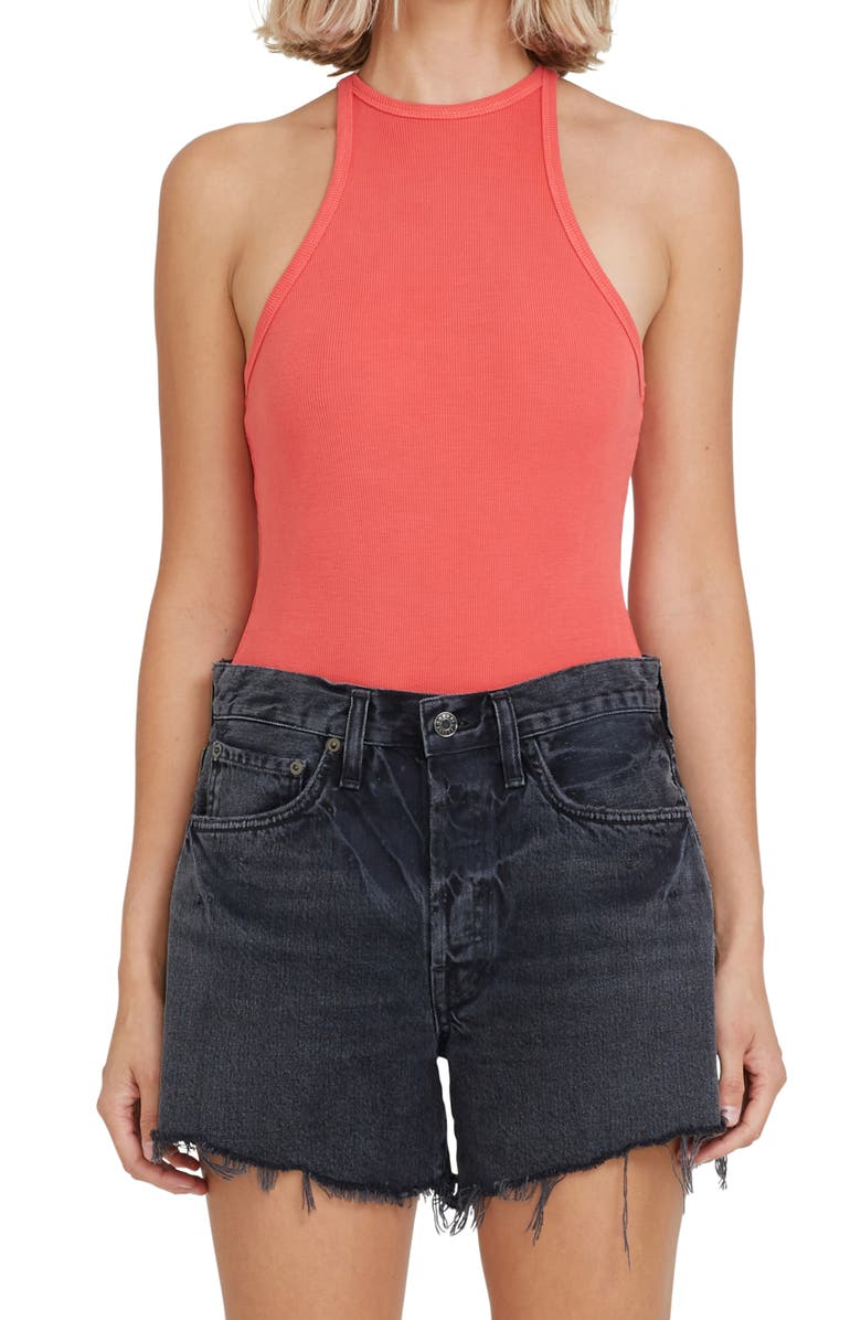 AGOLDE Rianne Ribbed Racerback Tank Bodysuit, Main, color, CANDY