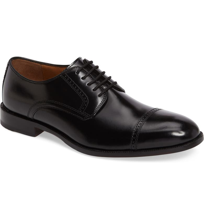 JOHNSTON & MURPHY Bradford Cap Toe Derby, Main, color, BLACK LEATHER