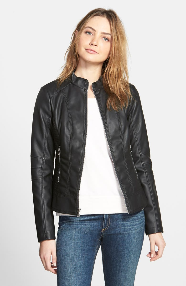 GUESS Faux Leather Scuba Jacket, Main, color, 001