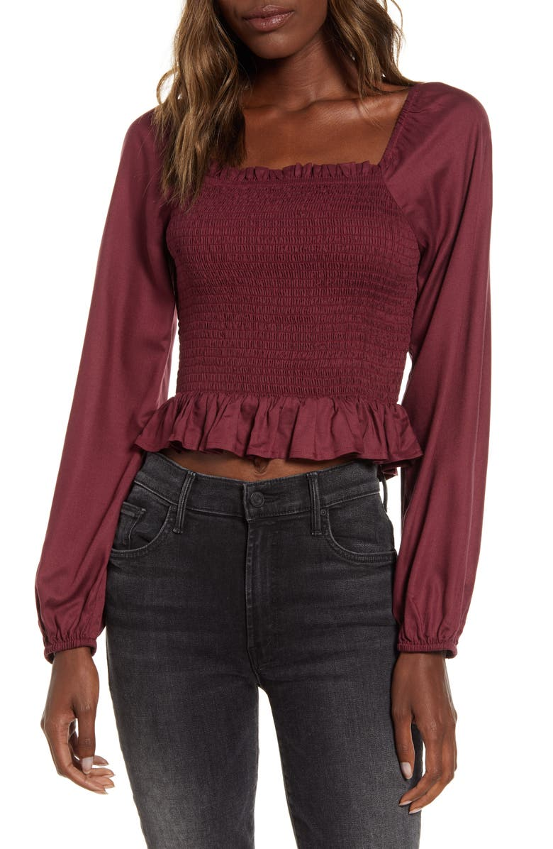 ANGIE Smocked Crop Top, Main, color, 604