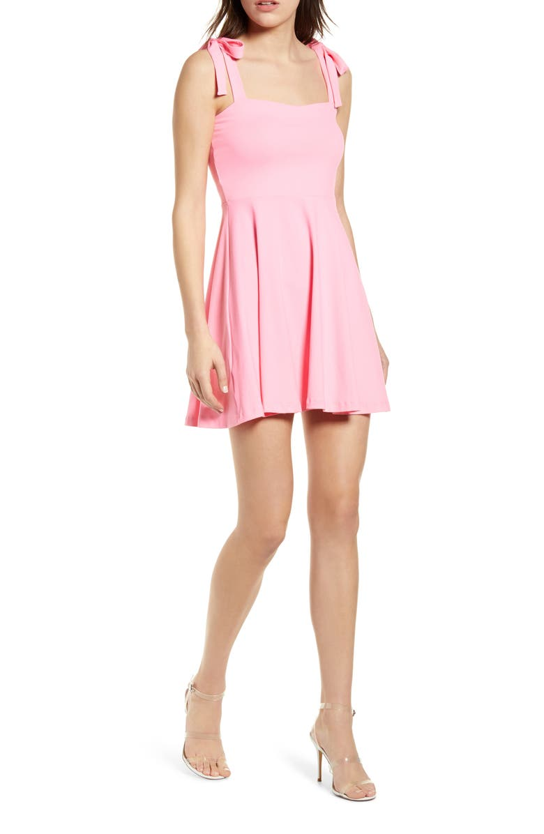 SUSANA MONACO Tie Strap Sleeveless Minidress, Main, color, KNOCKOUT PINK