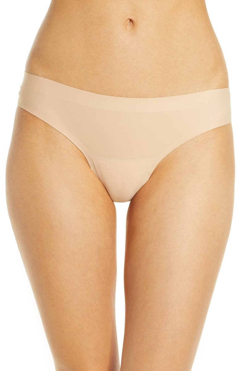 KNIX Leakproof Low Rise Thong, Main, color, BEIGE
