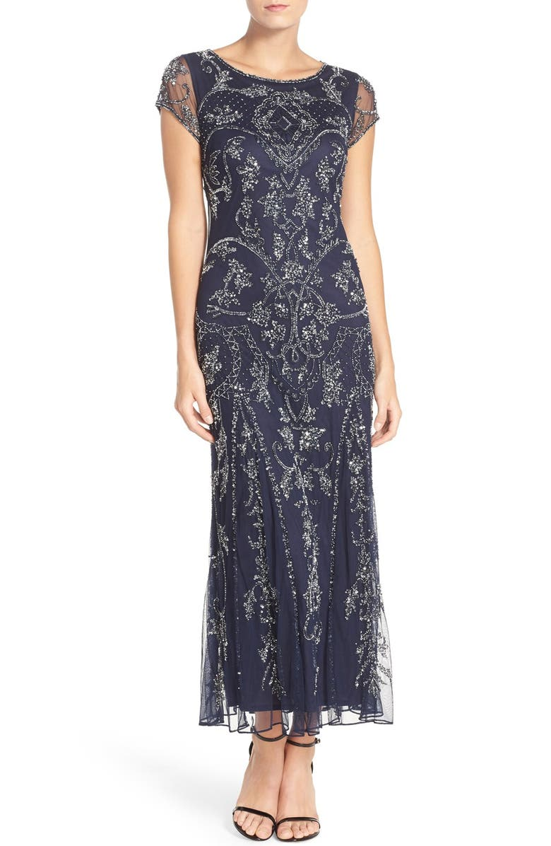 PISARRO NIGHTS Embellished Mesh Gown, Main, color, NAVY