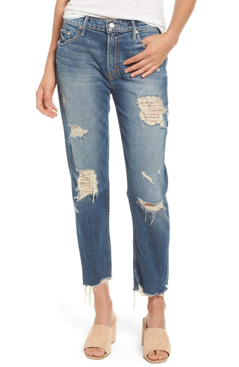 MOTHER The Sinner Ripped Ankle Straight Leg Jeans, Main, color, 418
