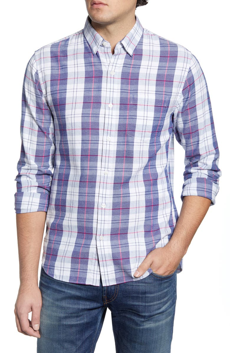 BONOBOS Slim Fit Plaid Button-Up Shirt, Main, color, 100