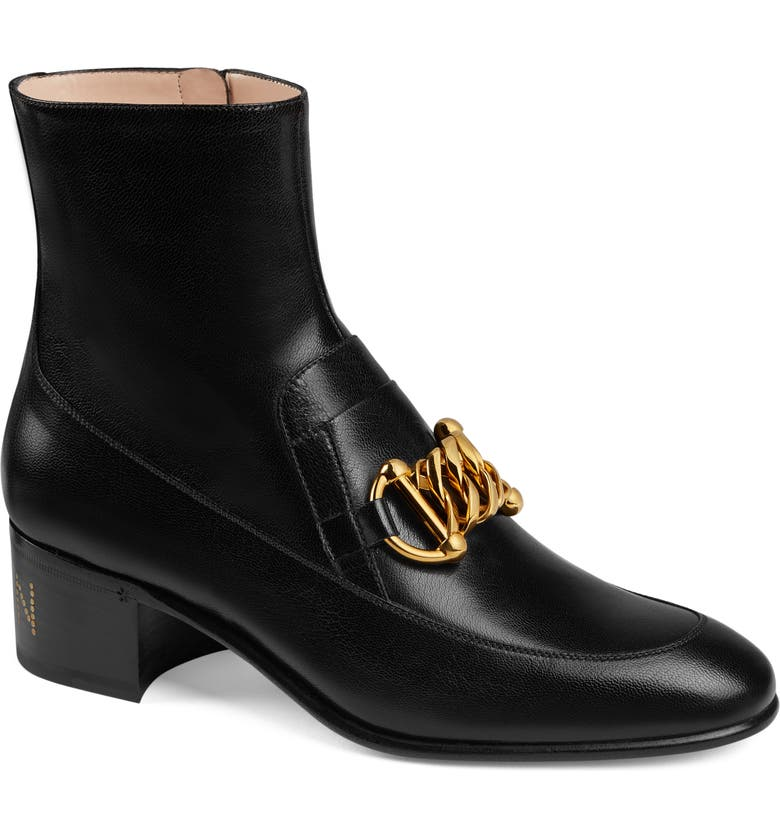GUCCI Chain Loafer Bootie, Main, color, 001