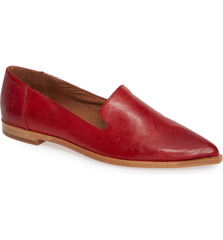 FRYE Kenzie Venetian Flat, Main, color, RED LEATHER