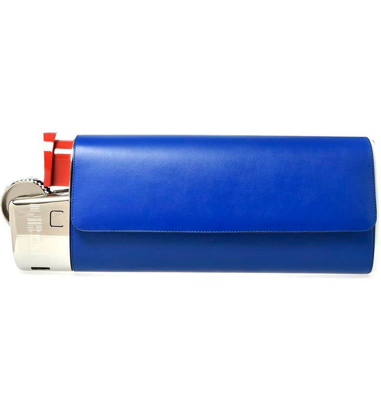 MOSCHINO Lighter Leather Clutch, Main, color, BLUE