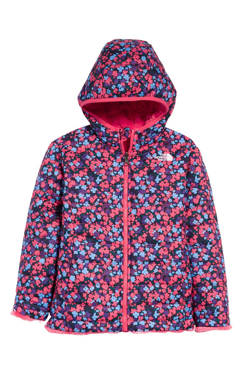 THE NORTH FACE Kids' Mossbud Swirl Reversible Water Repellent Heatseeker<sup>™</sup> Jacket, Main, color, PARADISE PINK/ WILDFLOWER