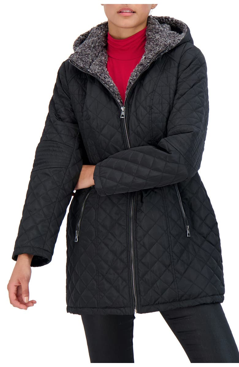 SEBBY Collection Faux Fur Lined Quilted Jacket, Main, color, BLACK