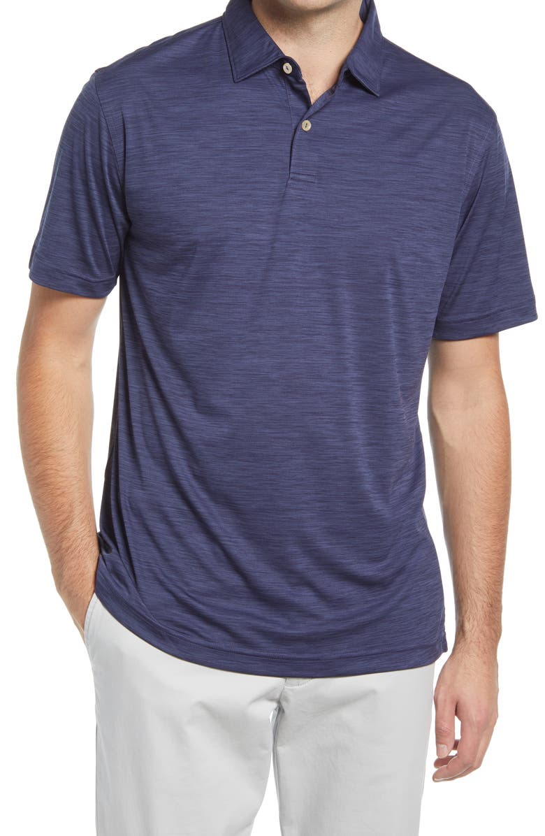 PETER MILLAR Featherweight Mélange Short Sleeve Polo, Main, color, NAVY