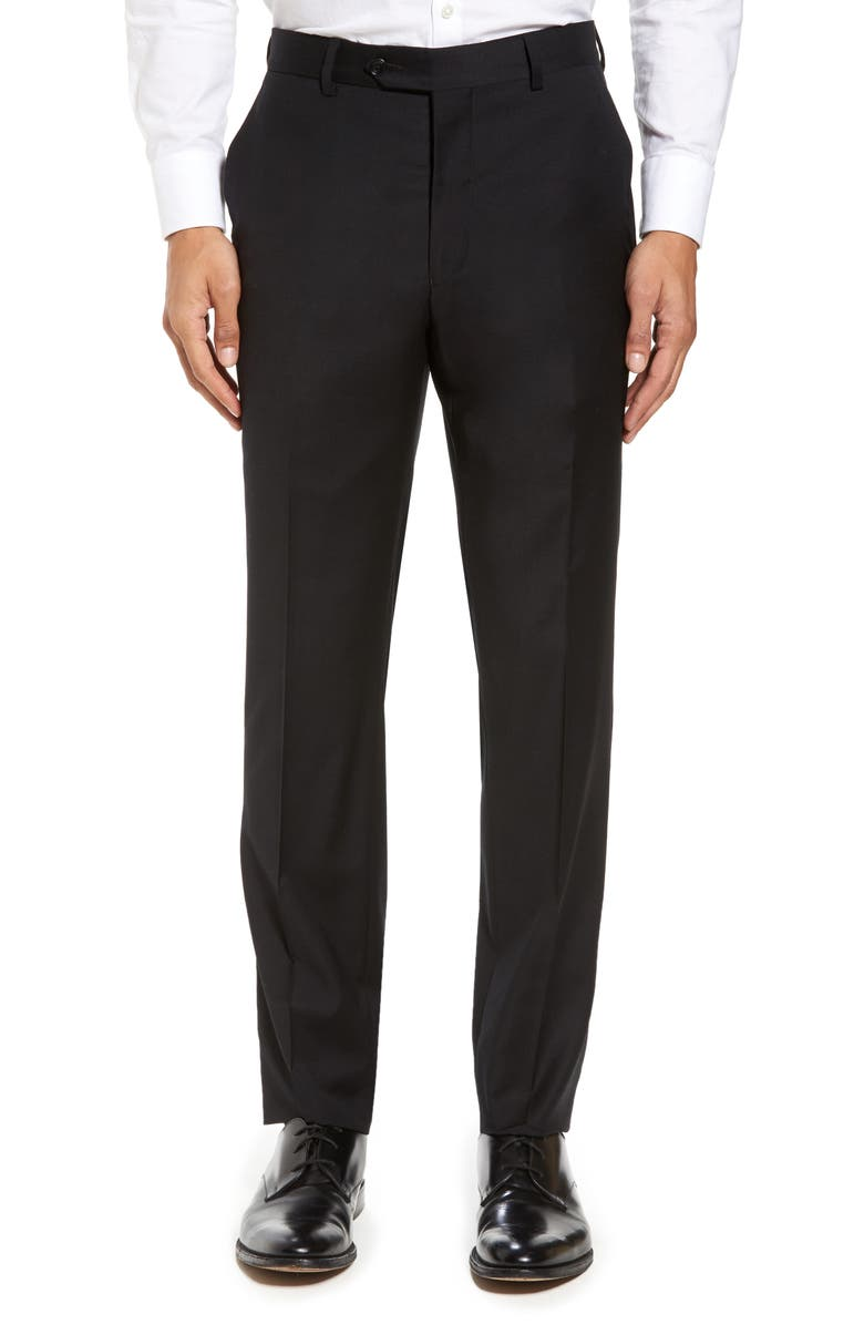 STRONG SUIT Flat Front Stretch Solid Wool Trousers, Main, color, 001