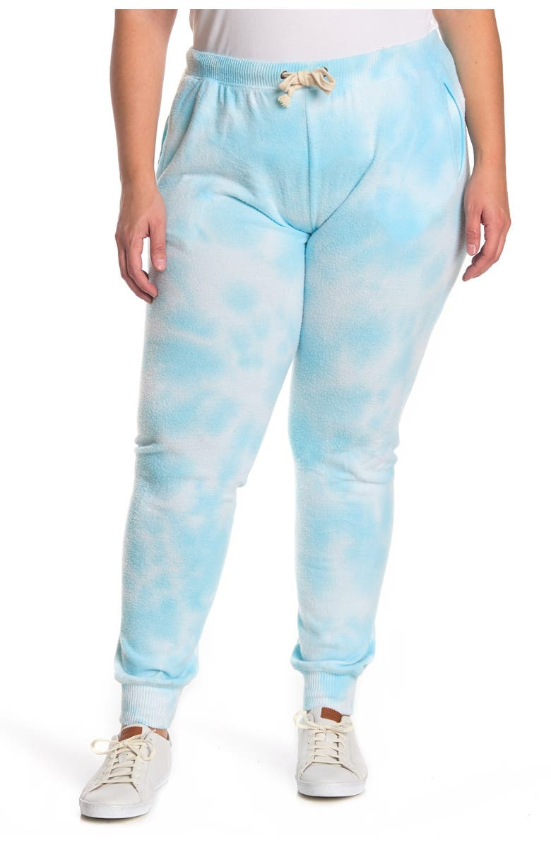 THEO AND SPENCE Heather Marble Tie Dye Print Joggers, Main, color, AQUA MARBLE