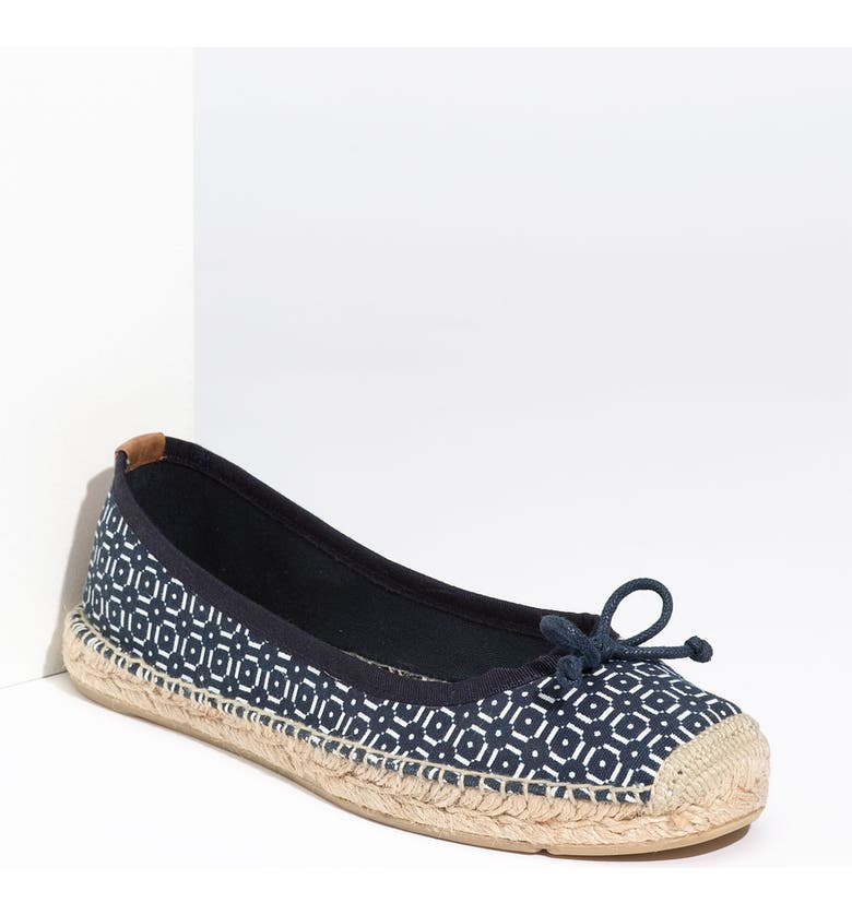 TORY BURCH Printed Flat Espadrille, Main, color, WHITE NAVY INK