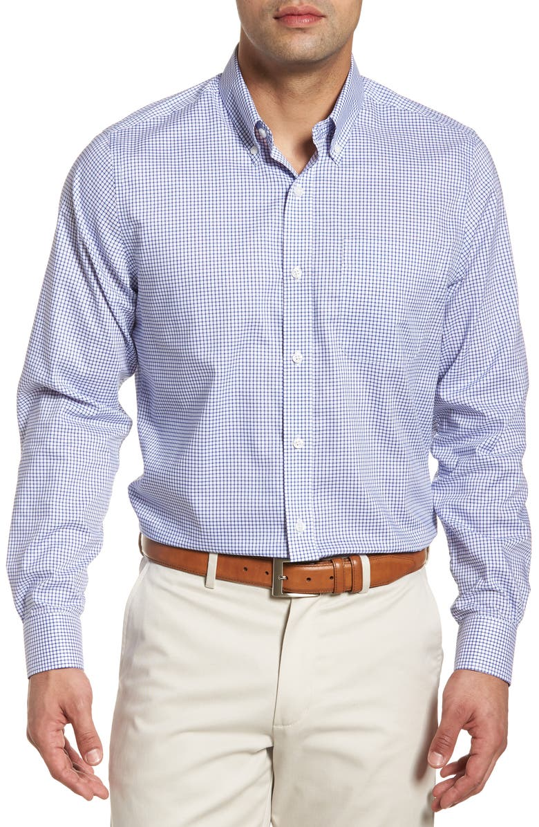 CUTTER & BUCK Tattersall Classic Fit Non-Iron Sport Shirt, Main, color, FRENCH BLUE