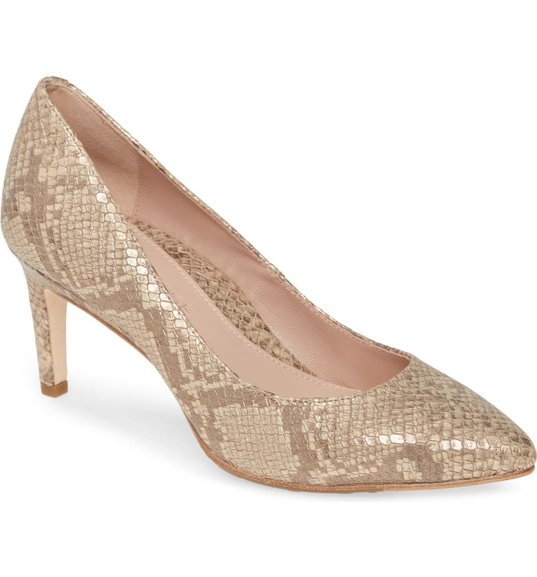 TARYN ROSE COLLECTION Gabriela Pointy Toe Pump, Main, color, SOFT GOLD LEATHER