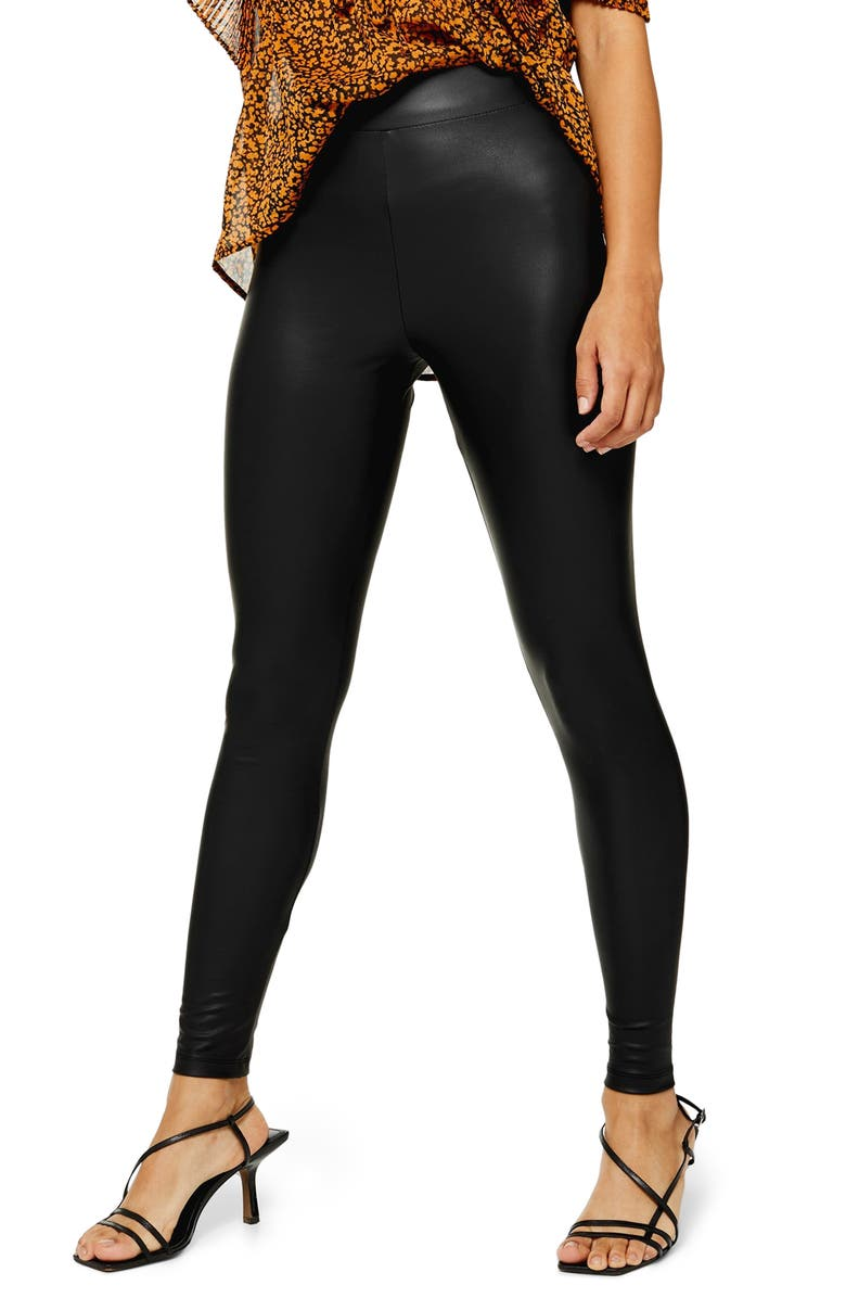 TOPSHOP Faux Leather Leggings, Main, color, BLACK