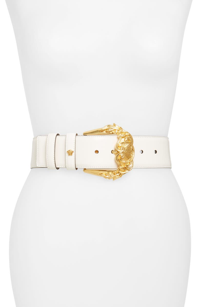 VERSACE First Line Baroque Buckle Leather Belt, Main, color, 100