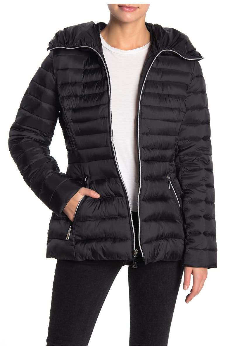 LAUNDRY BY SHELLI SEGAL Quilt Flared Puffer Jacket, Main, color, BLACK