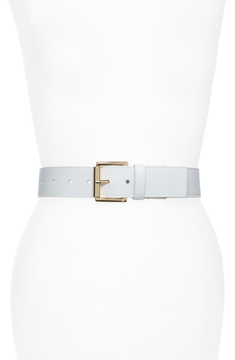 MICHAEL KORS Burnished Leather Belt, Main, color, OPTIC WHITE