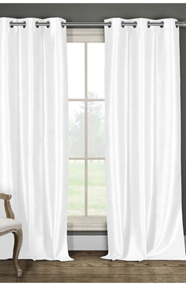 DUCK RIVER TEXTILE Daenery's Faux Silk Foamback Grommet Curtains - Set of 2 - White, Main, color, WHITE