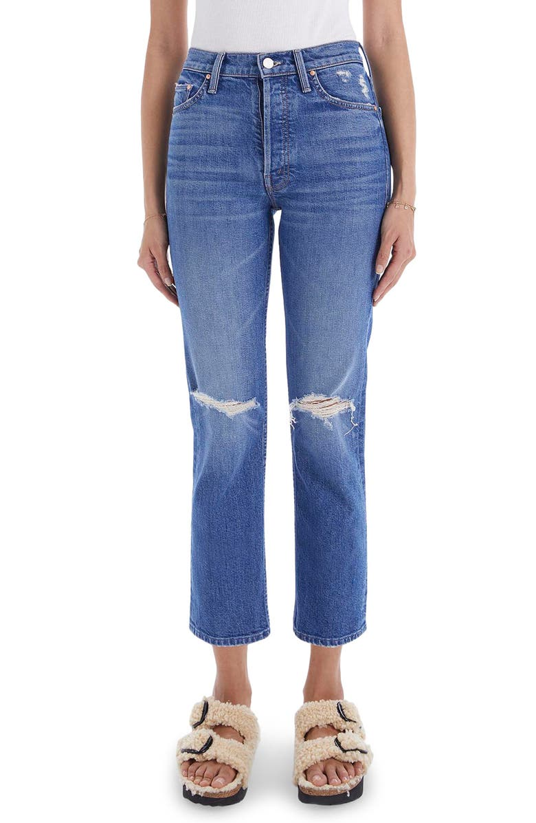 MOTHER The Tomcat High Waist Ripped Crop Straight Leg Jeans, Main, color, PLAYING WITH SCISSORS