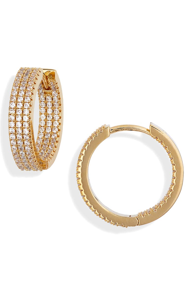 NORDSTROM Pavé Huggie Hoops, Main, color, CLEAR- GOLD