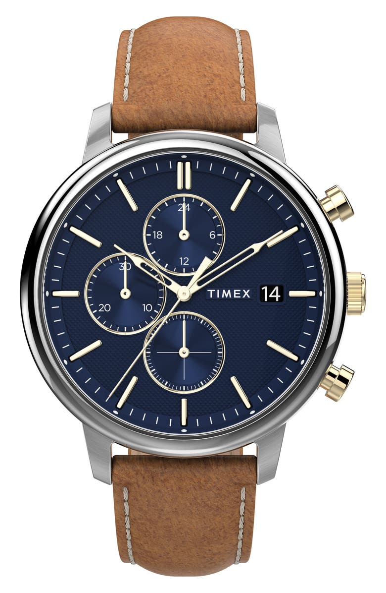 TIMEX<SUP>®</SUP> Chicago Chronograph Leather Strap Watch, 45mm, Main, color, BROWN