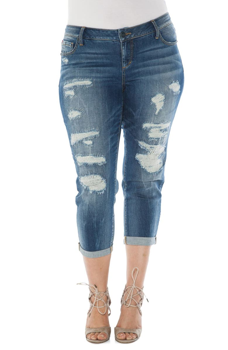 SLINK JEANS Distressed Roll Cuff Stretch Boyfriend Jeans, Main, color, 430