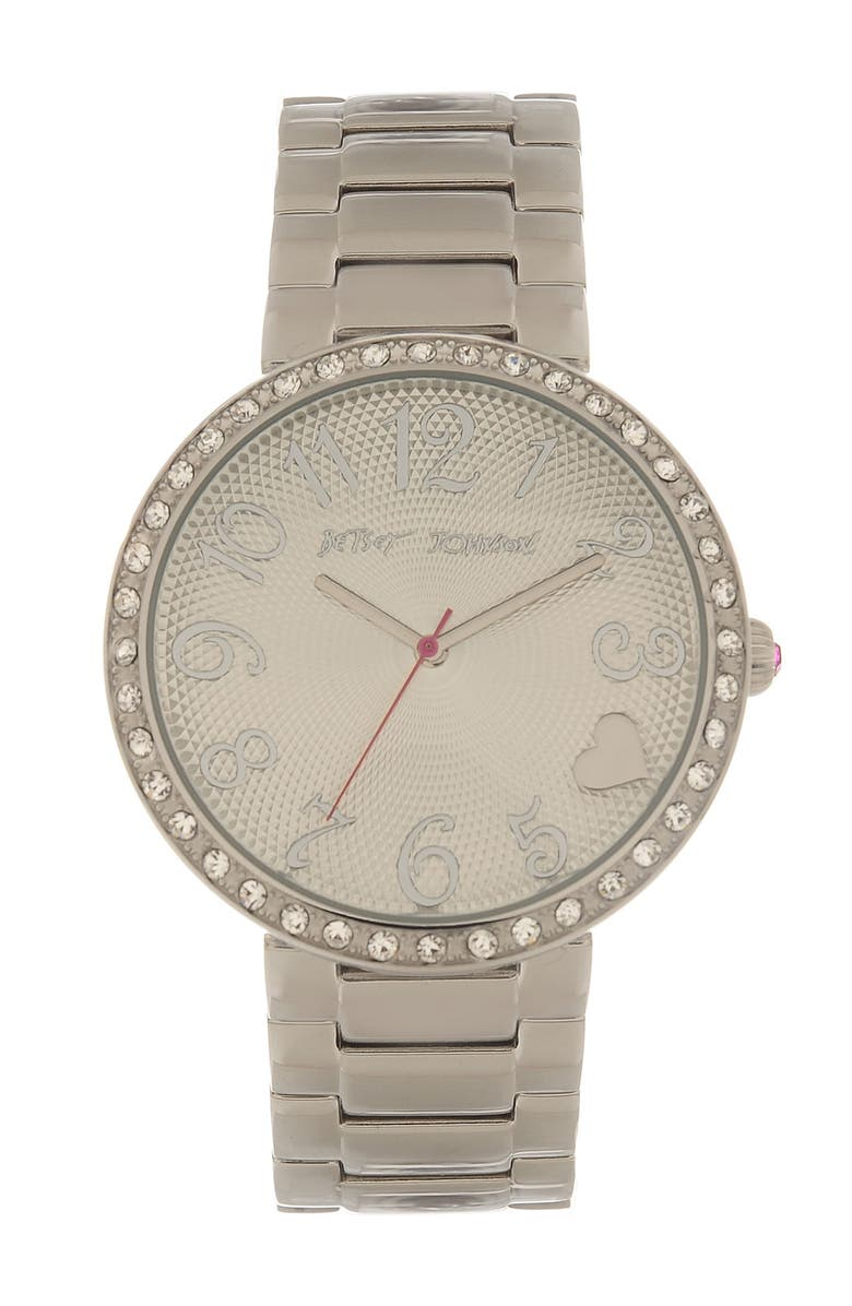 BETSEY JOHNSON 'Lots 'n' Lots of Time' Textured Dial Bracelet Watch, Main, color, 040