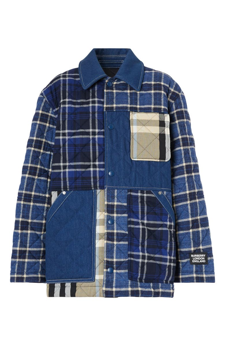BURBERRY Dunsby Quilted Flannel Shirt Jacket, Main, color, NAVY CHECK