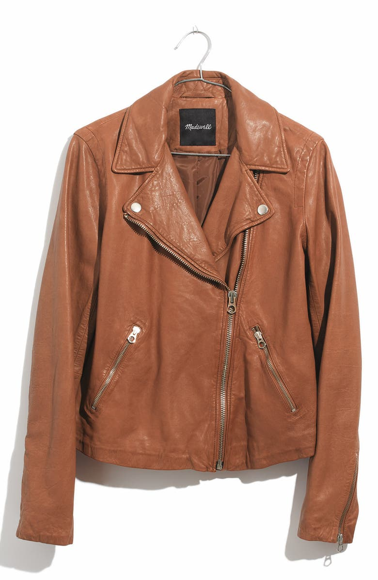 MADEWELL Washed Leather Moto Jacket, Main, color, 200