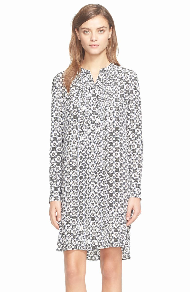 TORY BURCH Pleated Silk Shirtdress, Main, color, BALLET BLUE CRYSTALS