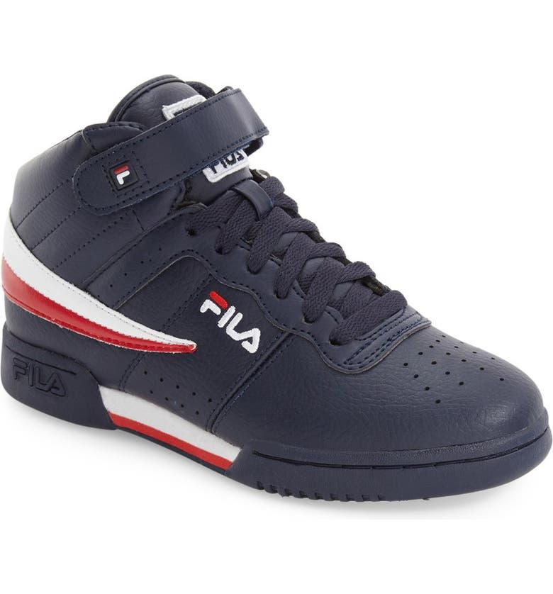 FILA F-13 High Top Sneaker, Main, color, NAVY/ RED/ WHITE