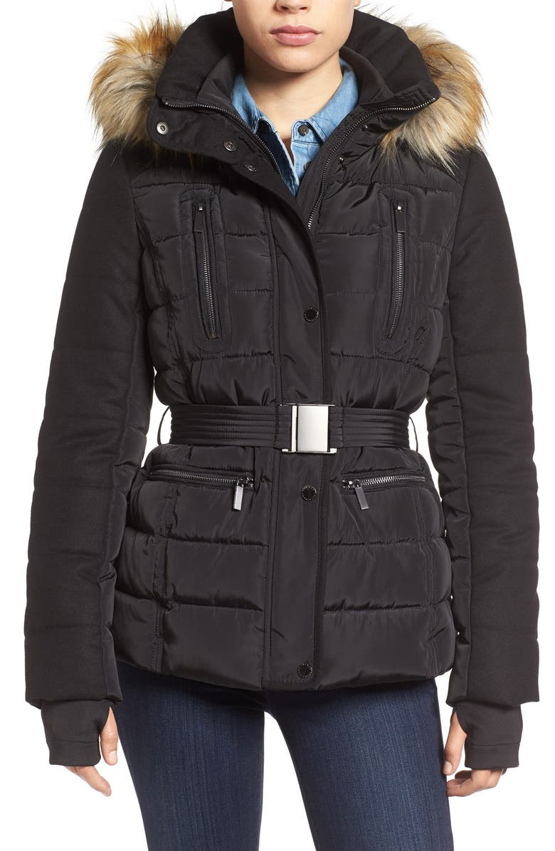 FRENCH CONNECTION Belted Quilted Jacket with Faux Fur Trim, Main, color, 001