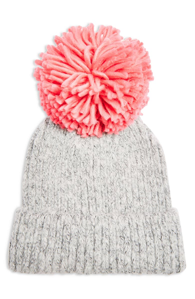 TOPSHOP Big Pom Knit Beanie, Main, color, 650
