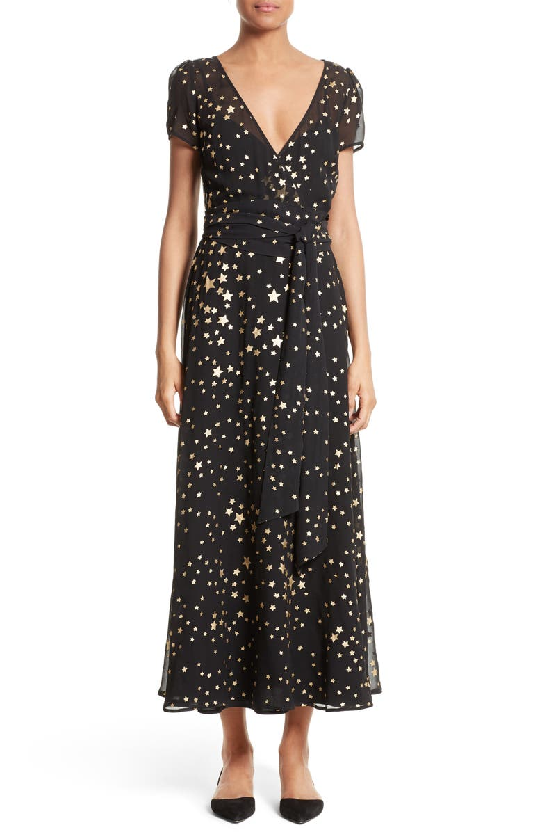 RED VALENTINO Lamé Star Wrap Maxi Dress, Main, color, 001