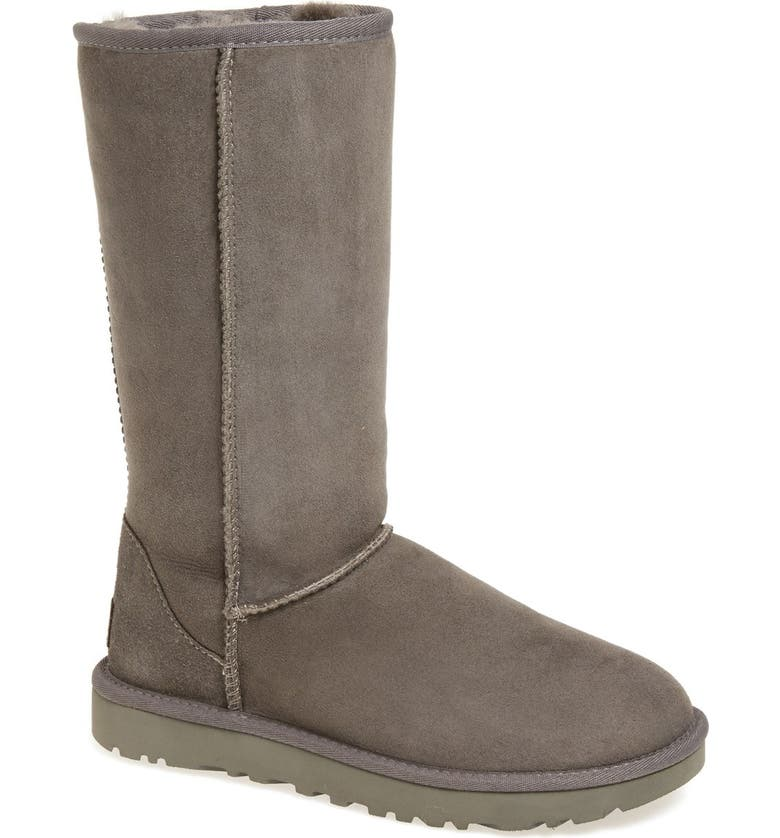 UGG<SUP>®</SUP> Classic II Genuine Shearling Lined Tall Boot, Main, color, GREY SUEDE