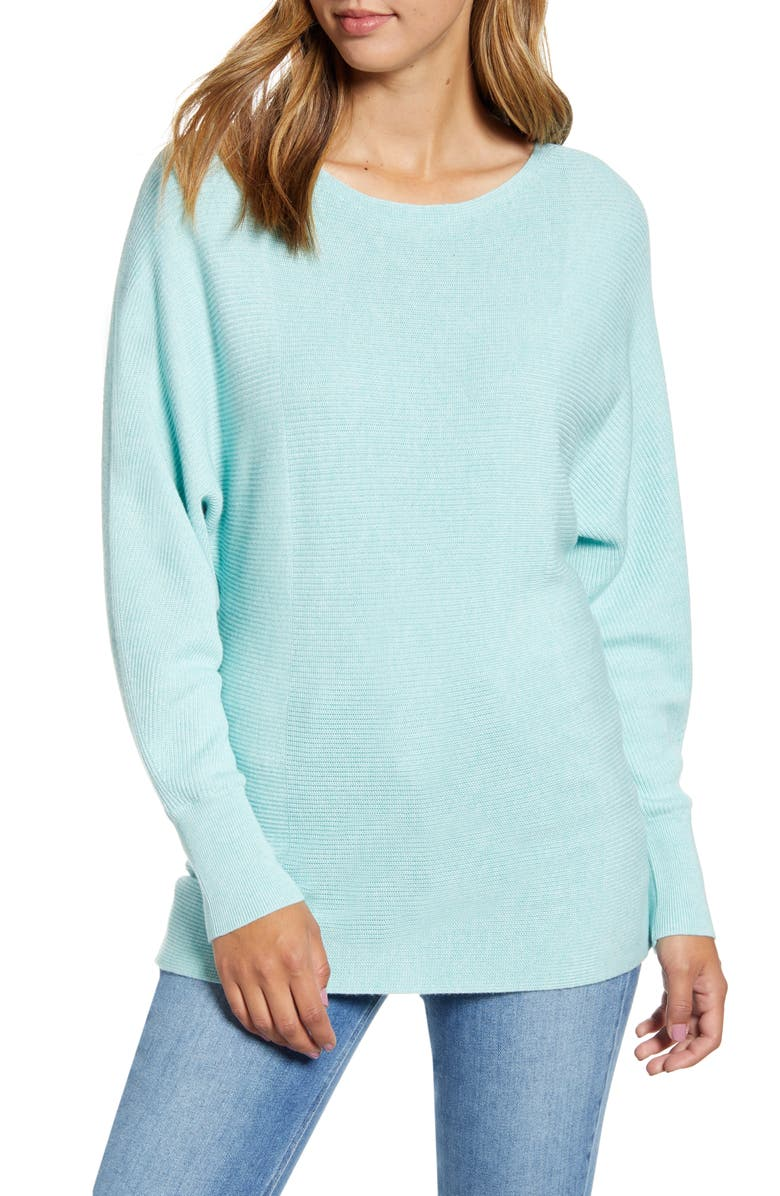 TOMMY BAHAMA Bonita Boatneck Ribbed Cotton Blend Sweater, Main, color, GLASS BEAD BLUE HEATHER