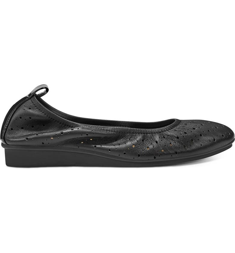 AEROSOLES Wooster Perforated Leather Ballet Flat - Wide Width Available, Main, color, BLACK LEATHER