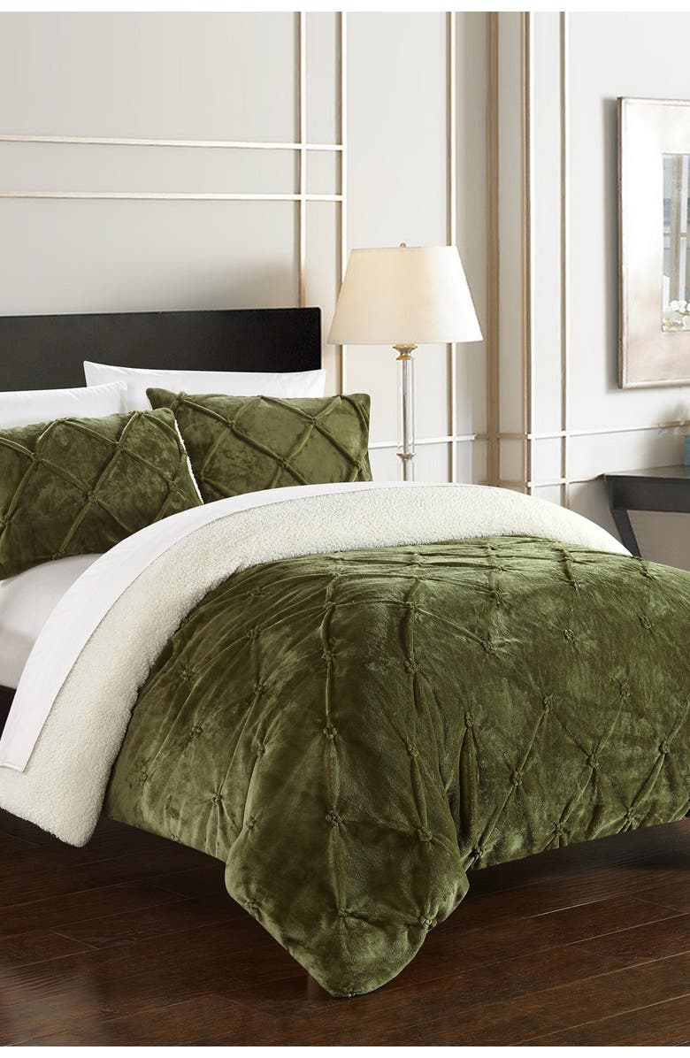 CHIC Queen Aurelia Pinch Pleate Shearling Lined Comforter Set - Green, Main, color, GREEN