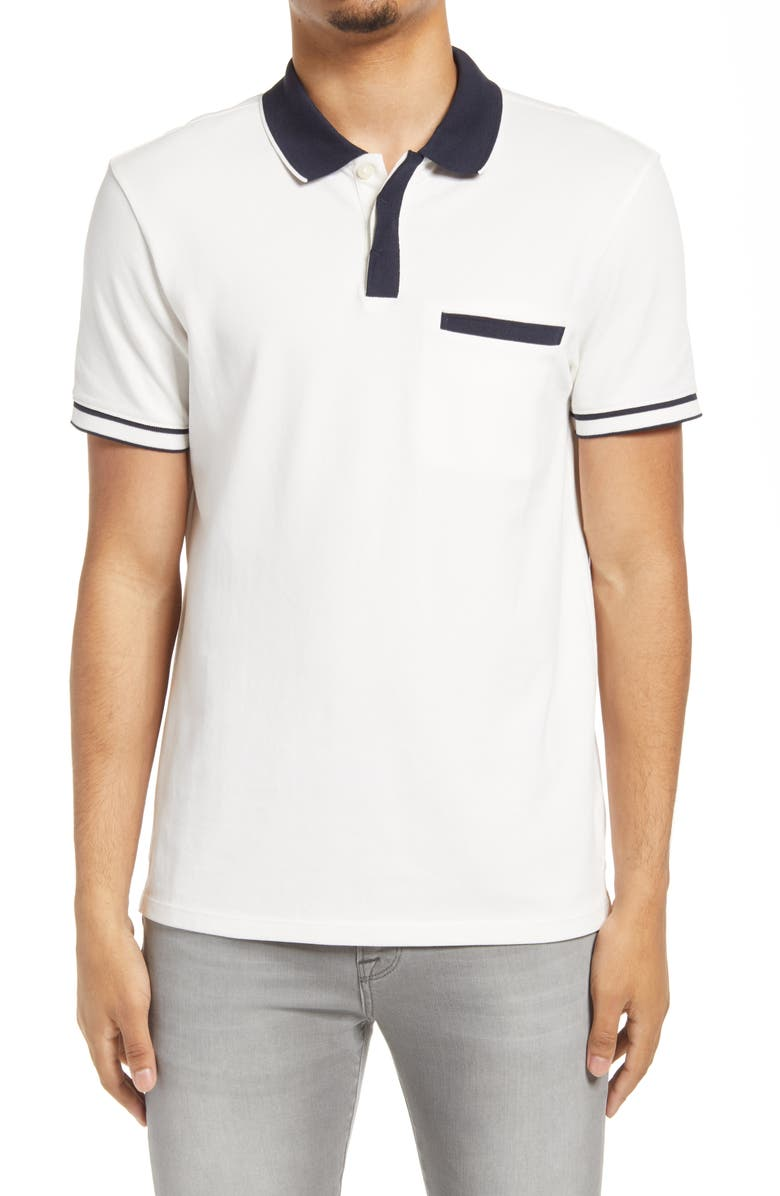 CLUB MONACO Welt Pocket Short Sleeve Polo, Main, color, 100