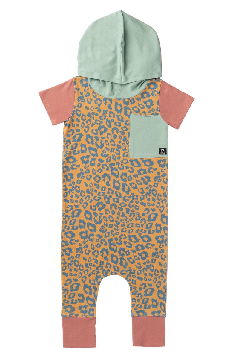 RAGS Leopard Hooded Romper, Main, color, 400